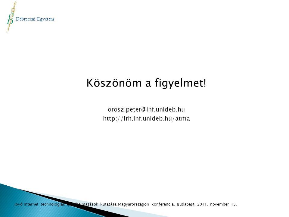 Köszönöm a figyelmet! orosz.peter@inf.unideb.hu http://irh.inf.unideb.hu/atma Debreceni Egyetem Jövő Internet technológiák és alkalmazások kutatása Ma