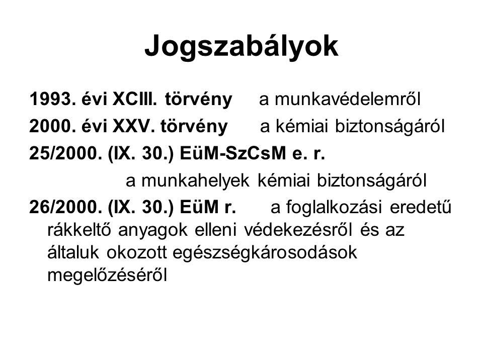 Jogszabályok 1993. évi XCIII. törvény a munkavédelemről 2000. évi XXV. törvény a kémiai biztonságáról 25/2000. (IX. 30.) EüM-SzCsM e. r. a munkahelyek