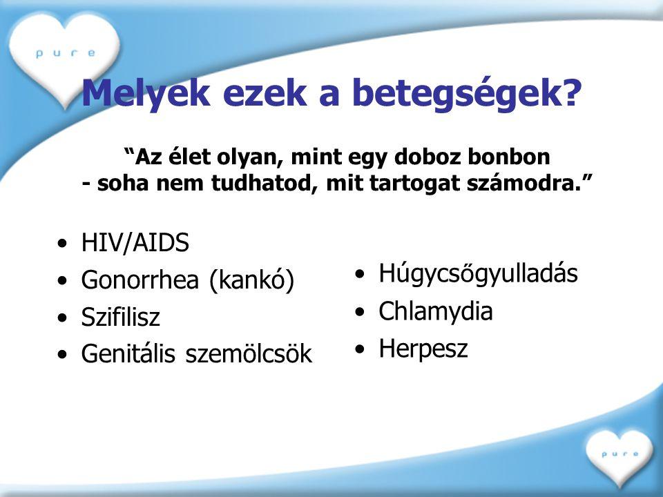"""Melyek ezek a betegségek? •HIV/AIDS •Gonorrhea (kankó) •Szifilisz •Genitális szemölcsök •Húgycs ő gyulladás •Chlamydia •Herpesz """"Az élet olyan, mint e"""