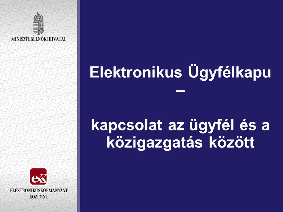 """Ügyfélkapu az E-kormányzat 2005 stratégia E-szolgáltatások átfogó program 4.A """"Elektronikus közmű akciójának legfontosabb eleme célkitűzése: az állampolgárok, szervezetek egykapus, kényelmes online ügyintézése a közigazgatásban igazodik az eEurope 2005 programtervhez"""