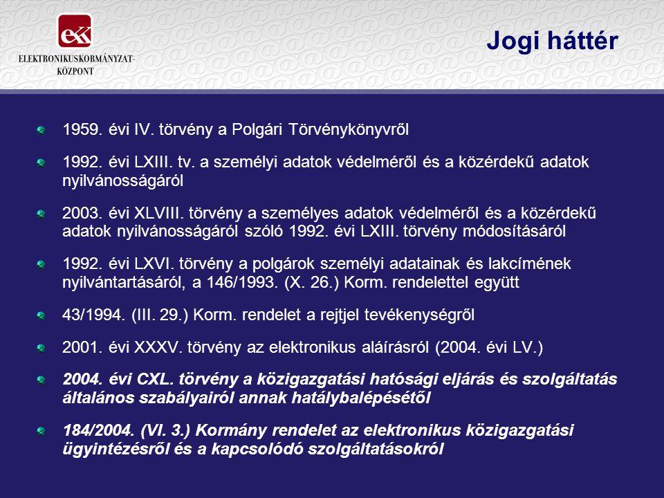 Jogi háttér 1959. évi IV. törvény a Polgári Törvénykönyvről 1992. évi LXIII. tv. a személyi adatok védelméről és a közérdekű adatok nyilvánosságáról 2