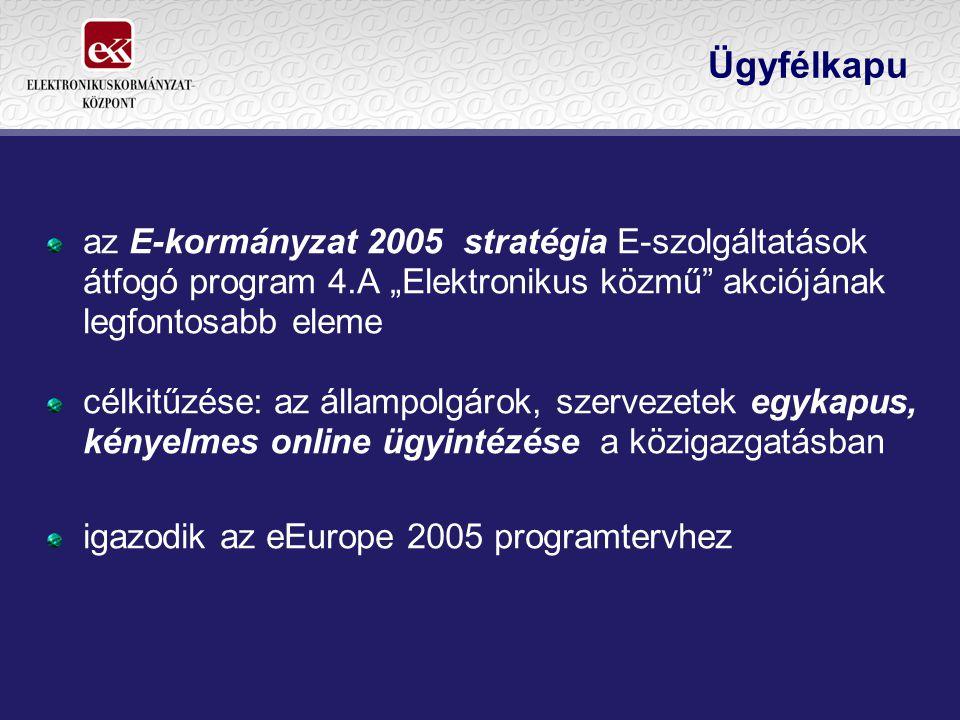 """Ügyfélkapu az E-kormányzat 2005 stratégia E-szolgáltatások átfogó program 4.A """"Elektronikus közmű"""" akciójának legfontosabb eleme célkitűzése: az állam"""