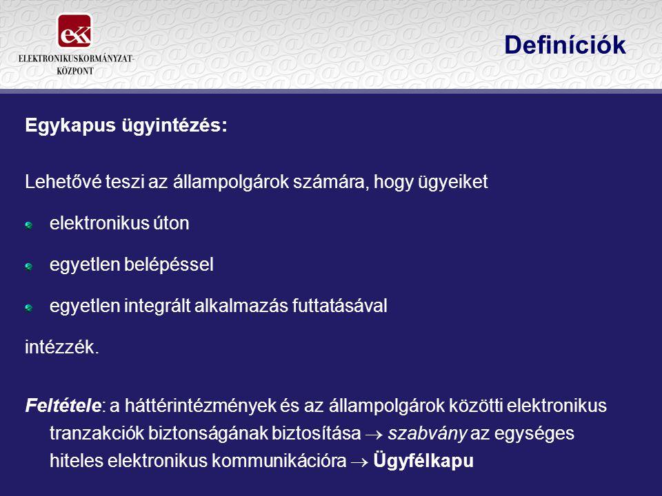 Definíciók Ügyfélkapu: Eszköz, amely biztosítja, hogy az ügyfél egyedileg azonosított módon biztonságosan léphessen kapcsolatba a központi rendszer - Elektronikus Kormányzati Gerinchálózat (infrastruktúra), Kormányzati Portál, Kormányzati Ügyféltájékoztató Központ (call center), valamint azok szolgáltatásai - útján az elektronikus közigazgatási ügyintézést, illetve elektronikus közigazgatási szolgáltatást nyújtó szervekkel.