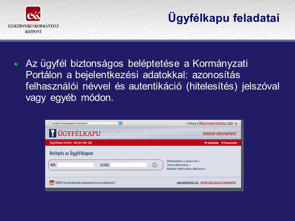 Ügyfélkapu feladatai Az ügyfél biztonságos beléptetése a Kormányzati Portálon a bejelentkezési adatokkal: azonosítás felhasználói névvel és autentikác