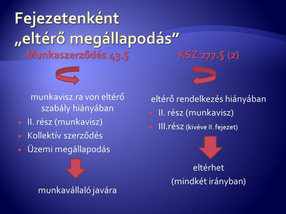 Munkaszerződés 43.§ munkavisz.ra von eltérő szabály hiányában  II.