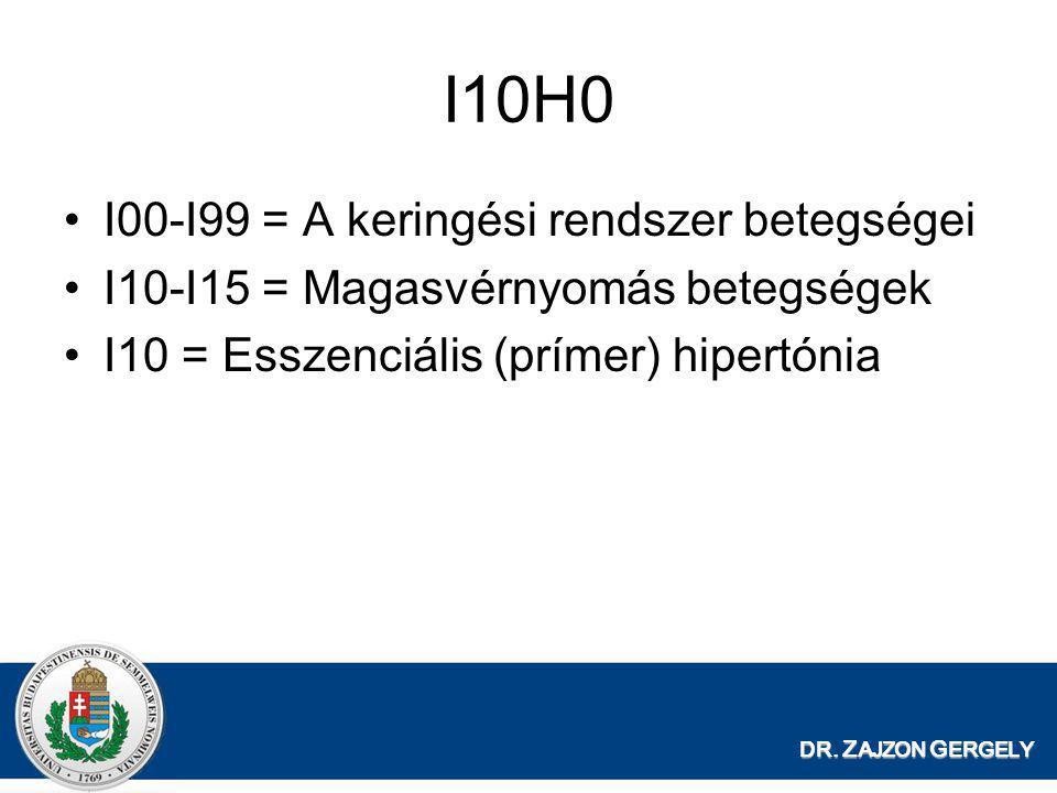 I10H0 •I00-I99 = A keringési rendszer betegségei •I10-I15 = Magasvérnyomás betegségek •I10 = Esszenciális (prímer) hipertónia