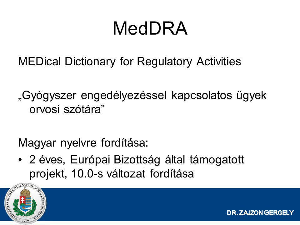 """DR. Z AJZON G ERGELY MedDRA MEDical Dictionary for Regulatory Activities """"Gyógyszer engedélyezéssel kapcsolatos ügyek orvosi szótára"""" Magyar nyelvre f"""