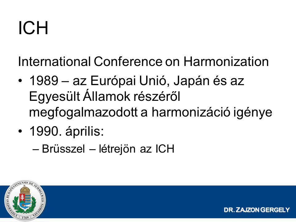 DR. Z AJZON G ERGELY ICH International Conference on Harmonization •1989 – az Európai Unió, Japán és az Egyesült Államok részéről megfogalmazodott a h