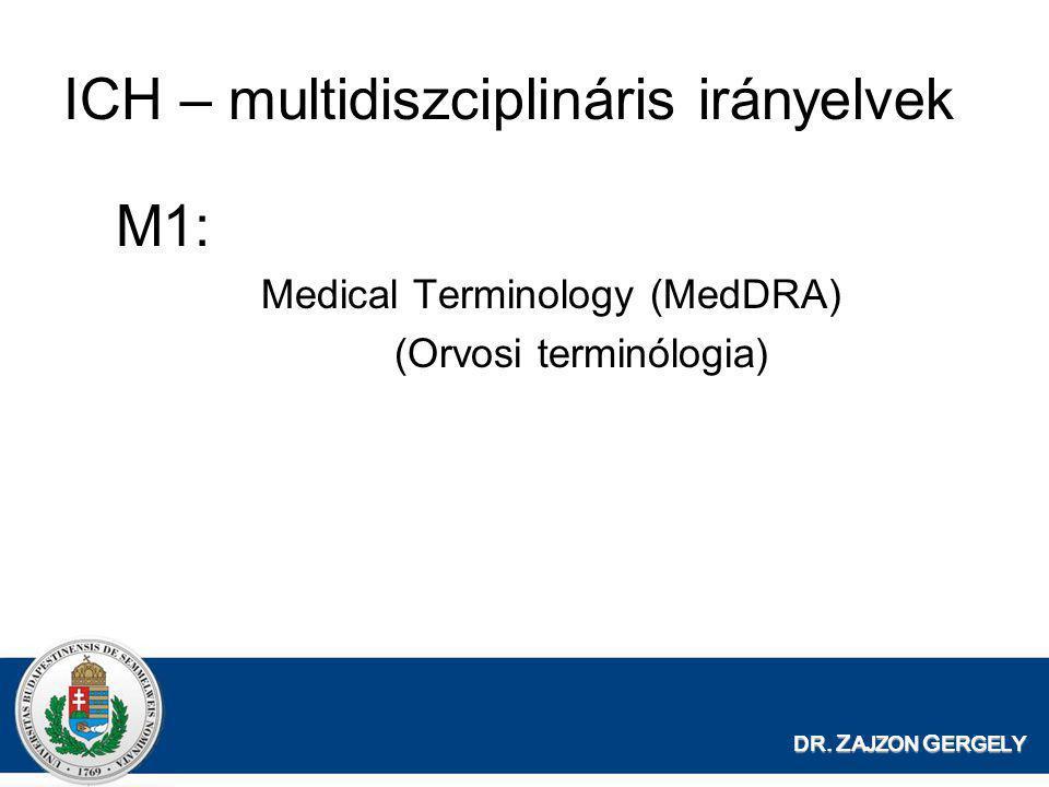 DR. Z AJZON G ERGELY ICH – multidiszciplináris irányelvek M1: Medical Terminology (MedDRA) (Orvosi terminólogia)