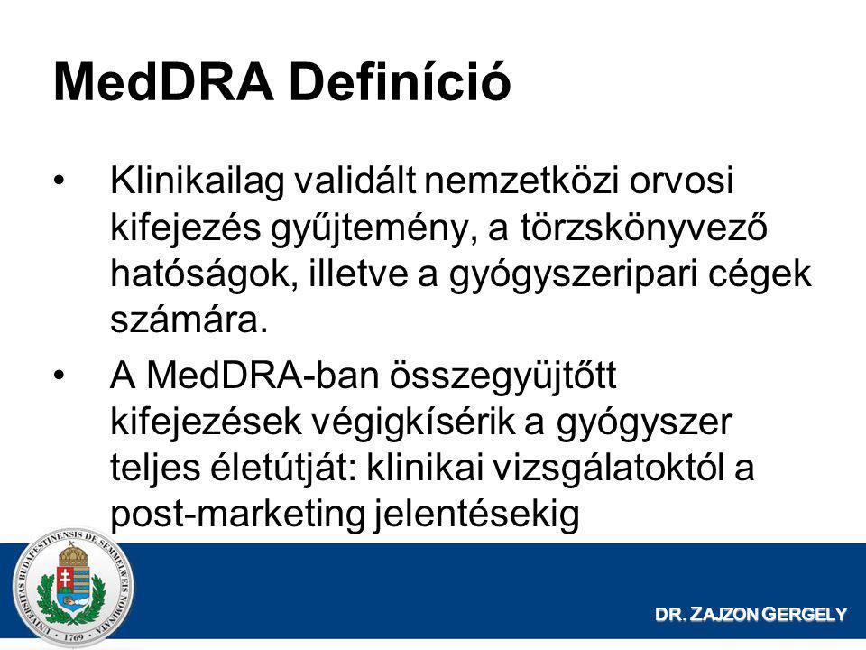DR. Z AJZON G ERGELY MedDRA Definíció •Klinikailag validált nemzetközi orvosi kifejezés gyűjtemény, a törzskönyvező hatóságok, illetve a gyógyszeripar