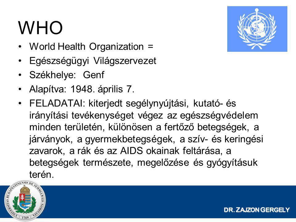 DR. Z AJZON G ERGELY WHO •World Health Organization = •Egészségügyi Világszervezet •Székhelye: Genf •Alapítva: 1948. április 7. •FELADATAI: kiterjedt