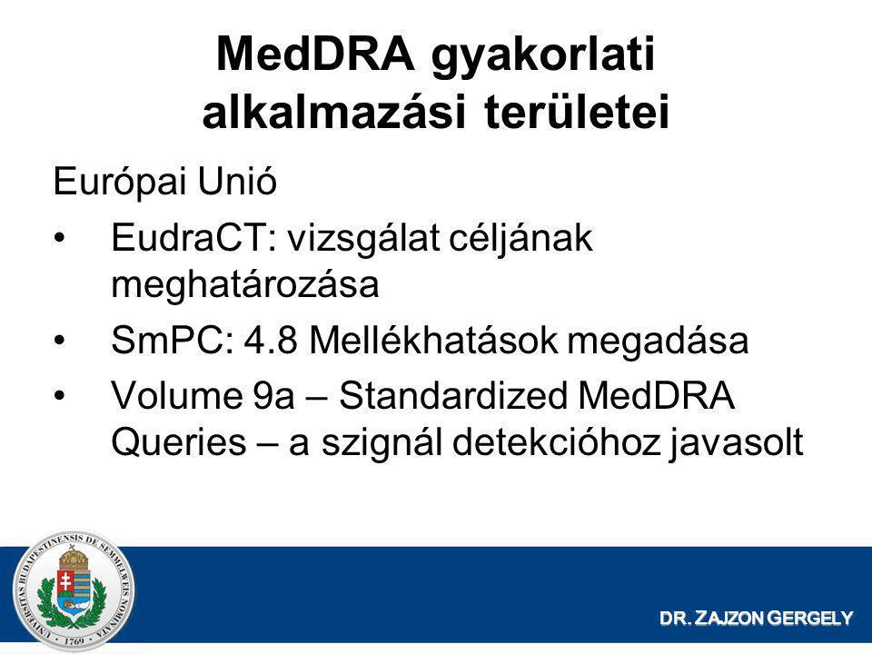 DR. Z AJZON G ERGELY MedDRA gyakorlati alkalmazási területei Európai Unió •EudraCT: vizsgálat céljának meghatározása •SmPC: 4.8 Mellékhatások megadása