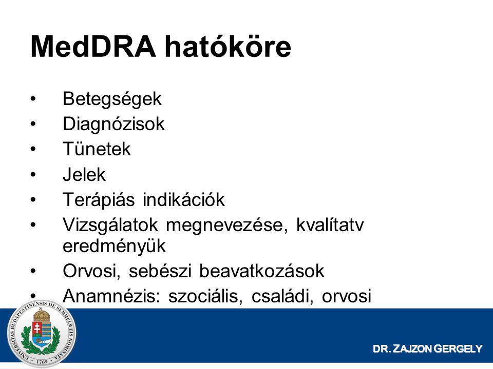 DR. Z AJZON G ERGELY MedDRA hatóköre •Betegségek •Diagnózisok •Tünetek •Jelek •Terápiás indikációk •Vizsgálatok megnevezése, kvalítatv eredményük •Orv