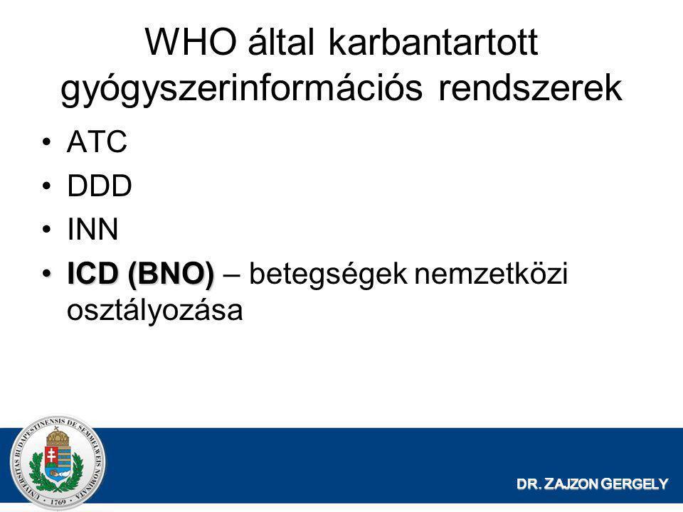 DR. Z AJZON G ERGELY WHO által karbantartott gyógyszerinformációs rendszerek •ATC •DDD •INN •ICD (BNO) •ICD (BNO) – betegségek nemzetközi osztályozása