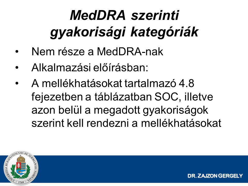 DR. Z AJZON G ERGELY MedDRA szerinti gyakorisági kategóriák •Nem része a MedDRA-nak •Alkalmazási előírásban: •A mellékhatásokat tartalmazó 4.8 fejezet