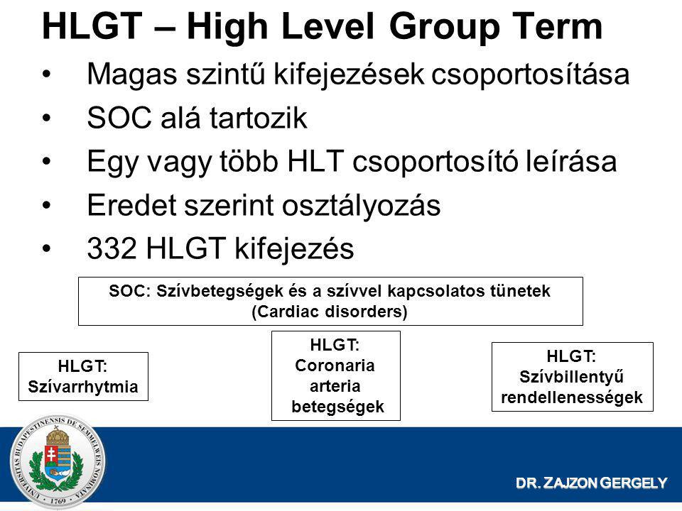 DR. Z AJZON G ERGELY HLGT – High Level Group Term •Magas szintű kifejezések csoportosítása •SOC alá tartozik •Egy vagy több HLT csoportosító leírása •