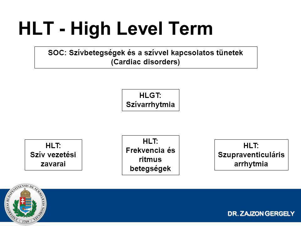 DR. Z AJZON G ERGELY HLT - High Level Term SOC: Szívbetegségek és a szívvel kapcsolatos tünetek (Cardiac disorders) HLT: Frekvencia és ritmus betegség
