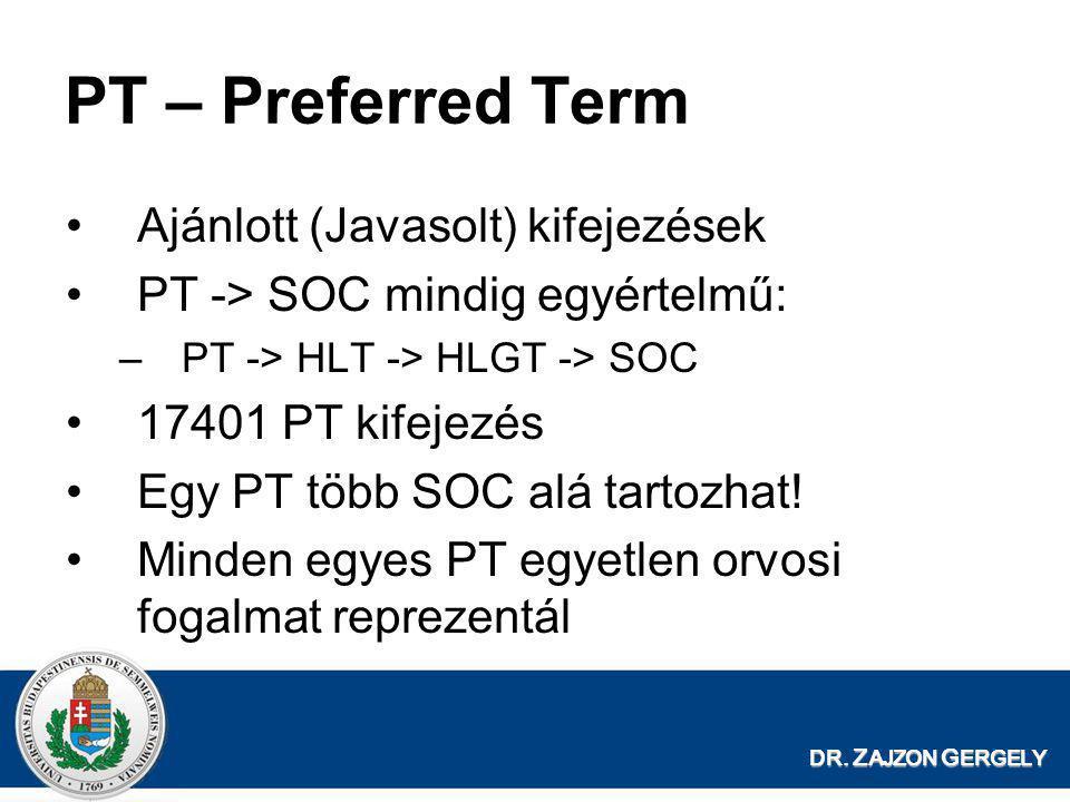 DR. Z AJZON G ERGELY PT – Preferred Term •Ajánlott (Javasolt) kifejezések •PT -> SOC mindig egyértelmű: –PT -> HLT -> HLGT -> SOC •17401 PT kifejezés