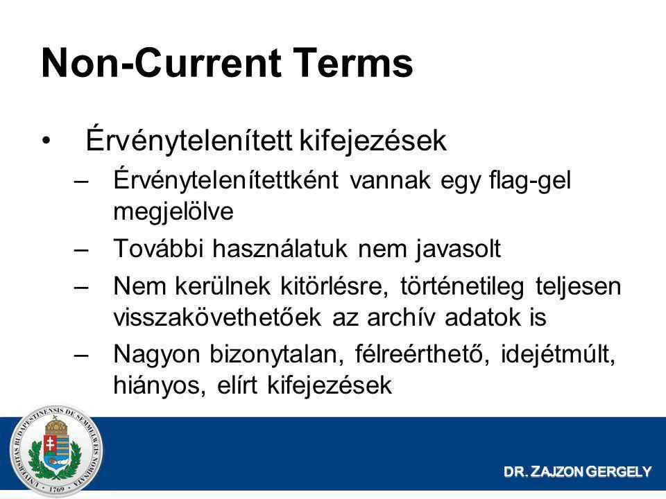 DR. Z AJZON G ERGELY Non-Current Terms •Érvénytelenített kifejezések –Érvénytelenítettként vannak egy flag-gel megjelölve –További használatuk nem jav