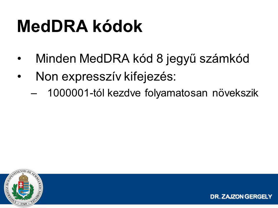 DR. Z AJZON G ERGELY MedDRA kódok •Minden MedDRA kód 8 jegyű számkód •Non expresszív kifejezés: –1000001-tól kezdve folyamatosan növekszik