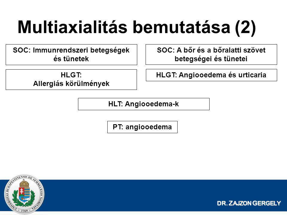 DR. Z AJZON G ERGELY Multiaxialitás bemutatása (2) SOC: Immunrendszeri betegségek és tünetek HLGT: Allergiás körülmények PT: angiooedema SOC: A bőr és