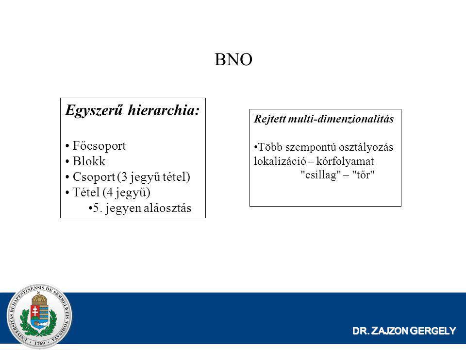 DR. Z AJZON G ERGELY BNO Egyszerű hierarchia: • Főcsoport • Blokk • Csoport (3 jegyű tétel) • Tétel (4 jegyű) •5. jegyen aláosztás Rejtett multi-dimen