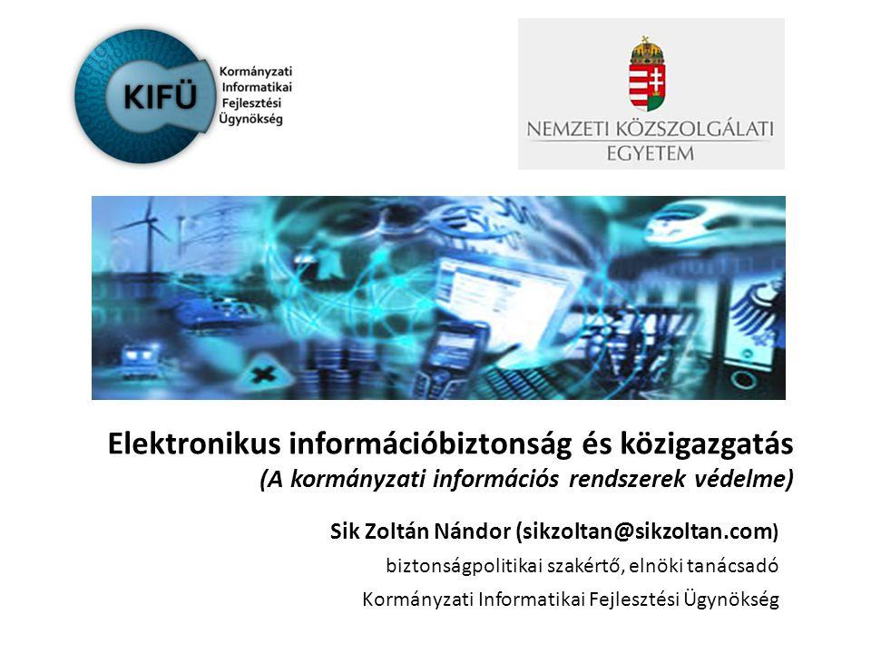 Tartalom 1.Hatalom és kormányzás – a hierarchia szükségessége 2.Az információtól való függés – az új sebezhetőségi pont 3.Védelem és biztonság – adatvédelem, adatbiztonság, információbiztonság, informatikai biztonság 4.Az állam szerepe – a nemzeti adat- és információs vagyon védelme 5.Kritikus (információs) infrastruktúra védelem 6.Függelék