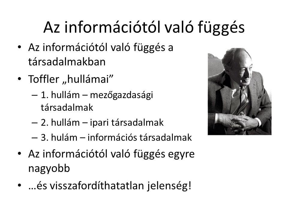 """Az információtól való függés • Az információtól való függés a társadalmakban • Toffler """"hullámai"""" – 1. hullám – mezőgazdasági társadalmak – 2. hullám"""