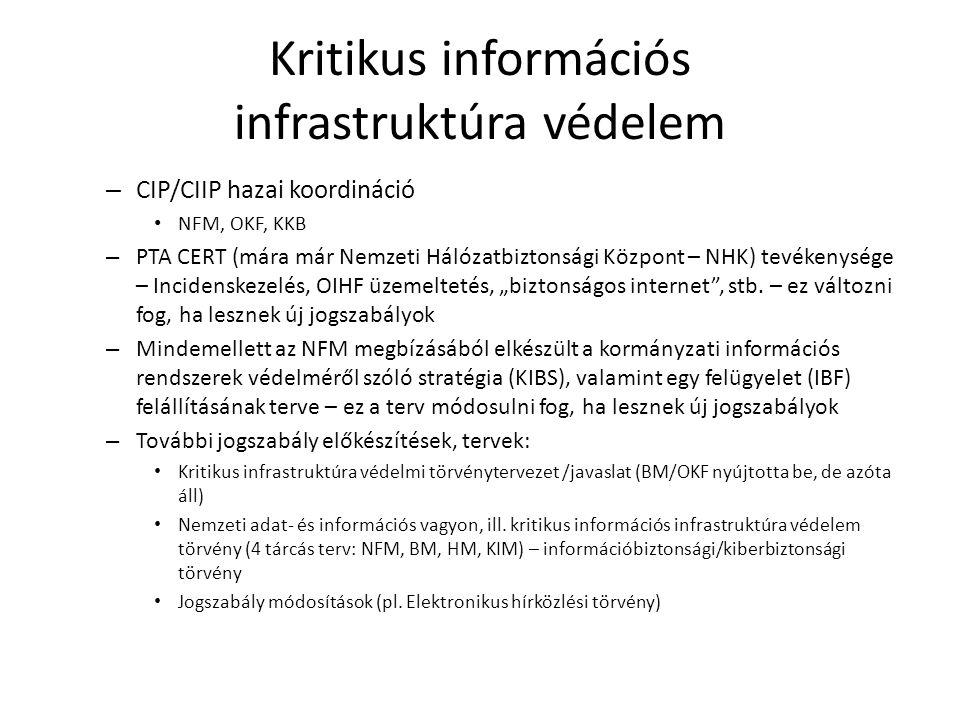 Kritikus információs infrastruktúra védelem – CIP/CIIP hazai koordináció • NFM, OKF, KKB – PTA CERT (mára már Nemzeti Hálózatbiztonsági Központ – NHK)