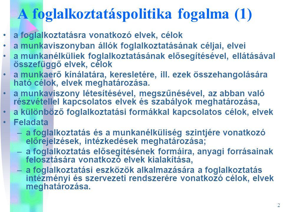 2 A foglalkoztatáspolitika fogalma (1) •a foglalkoztatásra vonatkozó elvek, célok •a munkaviszonyban állók foglalkoztatásának céljai, elvei •a munkané