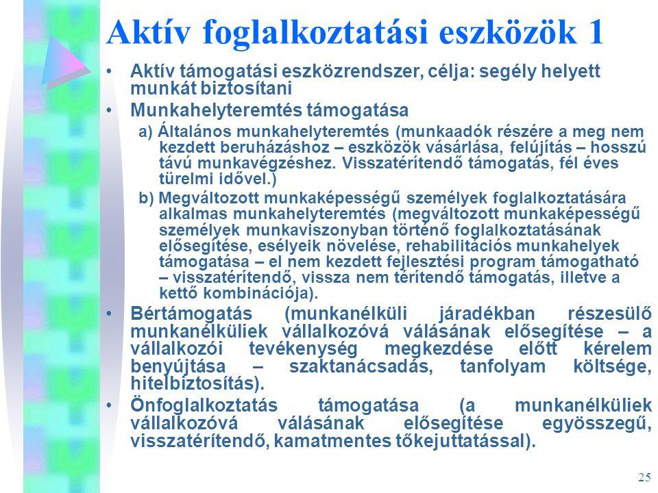 25 Aktív foglalkoztatási eszközök 1 •Aktív támogatási eszközrendszer, célja: segély helyett munkát biztosítani •Munkahelyteremtés támogatása a) Általá