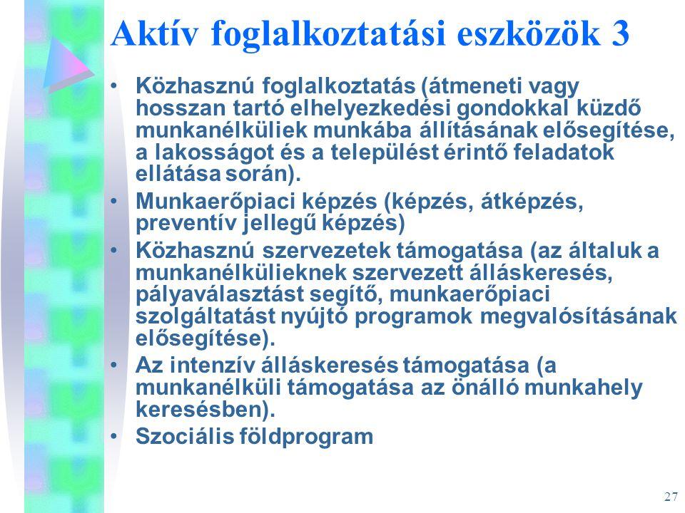 27 Aktív foglalkoztatási eszközök 3 •Közhasznú foglalkoztatás (átmeneti vagy hosszan tartó elhelyezkedési gondokkal küzdő munkanélküliek munkába állít