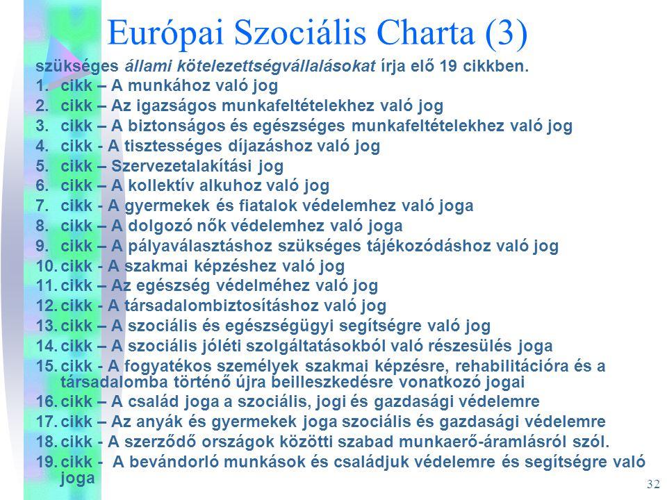 32 Európai Szociális Charta (3) szükséges állami kötelezettségvállalásokat írja elő 19 cikkben. 1.cikk – A munkához való jog 2.cikk – Az igazságos mun