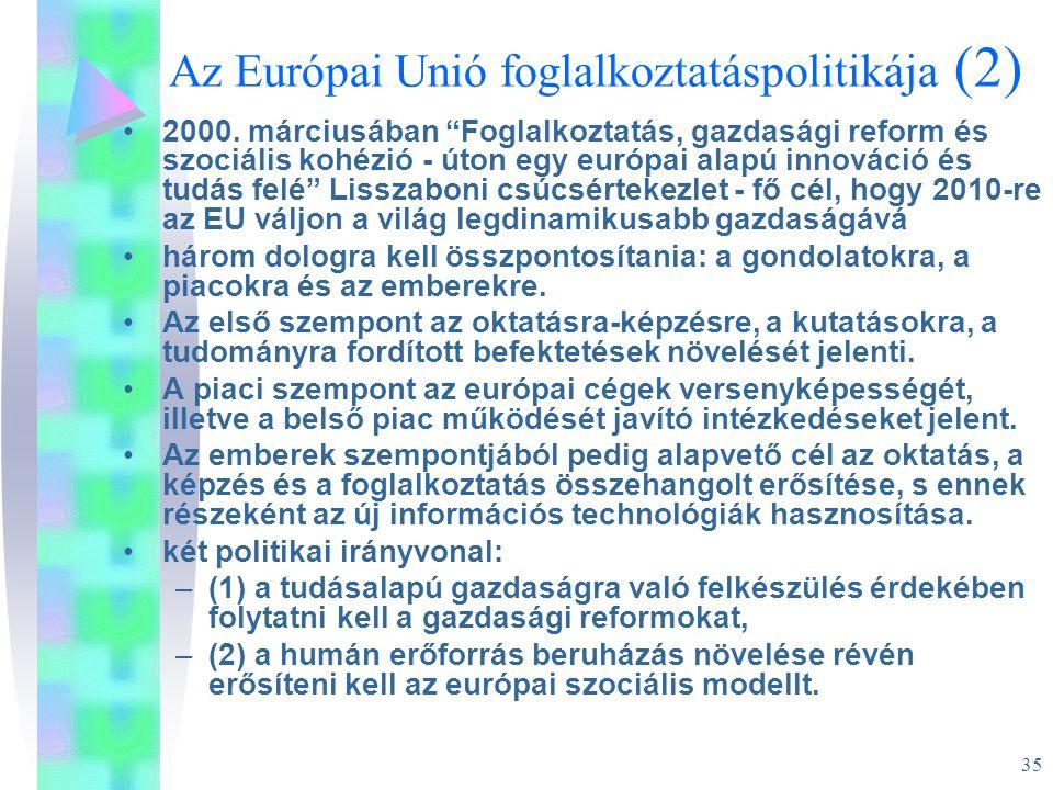"""35 Az Európai Unió foglalkoztatáspolitikája (2) •2000. márciusában """"Foglalkoztatás, gazdasági reform és szociális kohézió - úton egy európai alapú inn"""