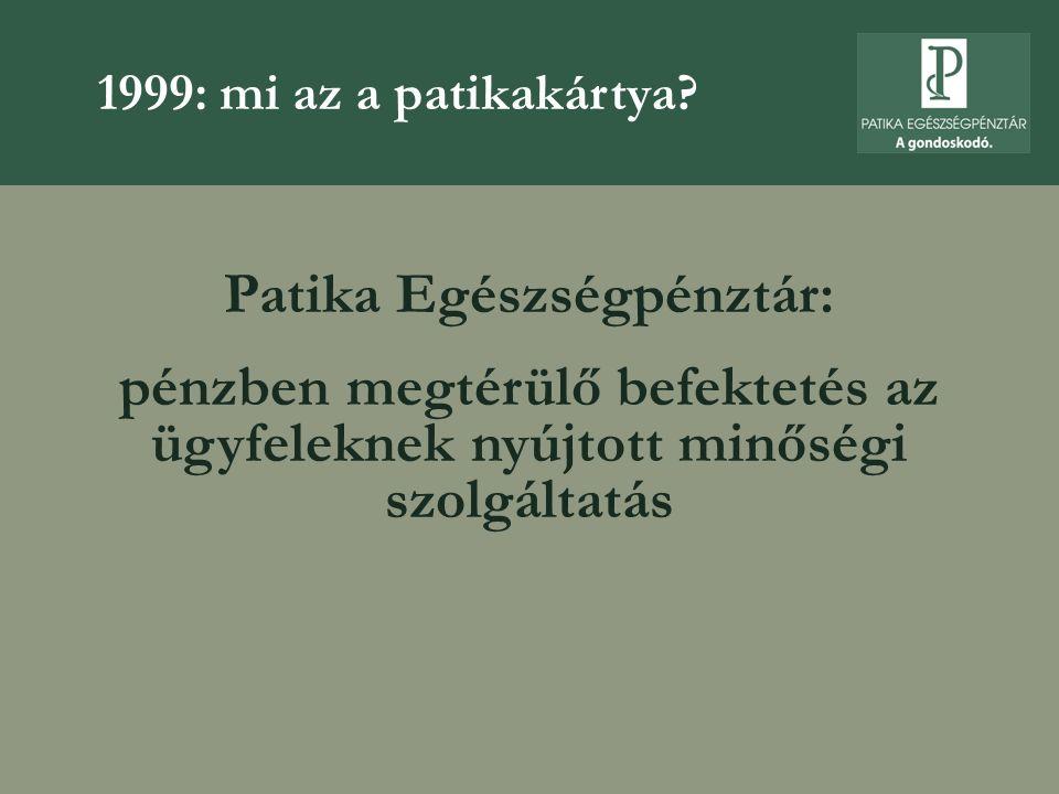 Patika Egészségpénztár: pénzben megtérülő befektetés az ügyfeleknek nyújtott minőségi szolgáltatás 1999: mi az a patikakártya?