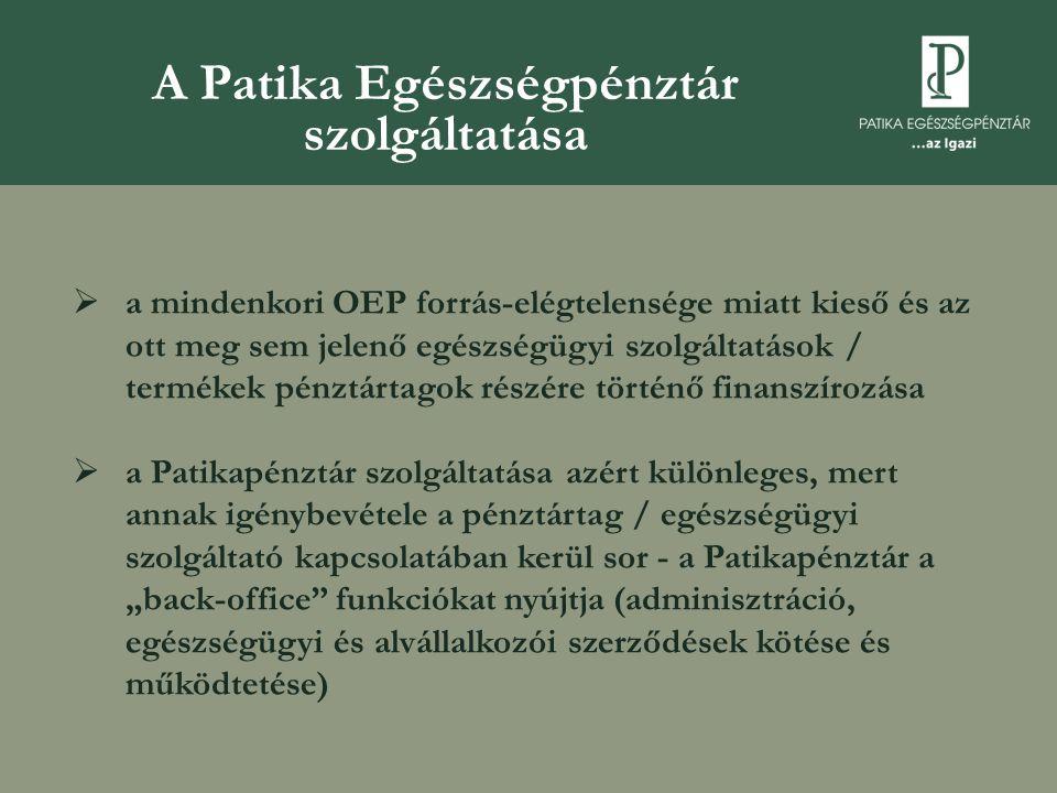 """A Patika Egészségpénztár szolgáltatása  a mindenkori OEP forrás-elégtelensége miatt kieső és az ott meg sem jelenő egészségügyi szolgáltatások / termékek pénztártagok részére történő finanszírozása  a Patikapénztár szolgáltatása azért különleges, mert annak igénybevétele a pénztártag / egészségügyi szolgáltató kapcsolatában kerül sor - a Patikapénztár a """"back-office funkciókat nyújtja (adminisztráció, egészségügyi és alvállalkozói szerződések kötése és működtetése)"""