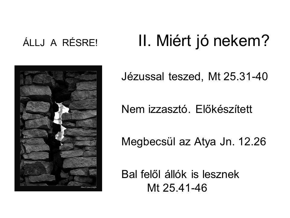 ÁLLJ A RÉSRE! II. Miért jó nekem? Jézussal teszed, Mt 25.31-40 Nem izzasztó. Előkészített Megbecsül az Atya Jn. 12.26 Bal felől állók is lesznek Mt 25