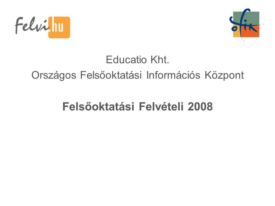 Educatio Kht. Országos Felsőoktatási Információs Központ Felsőoktatási Felvételi 2008