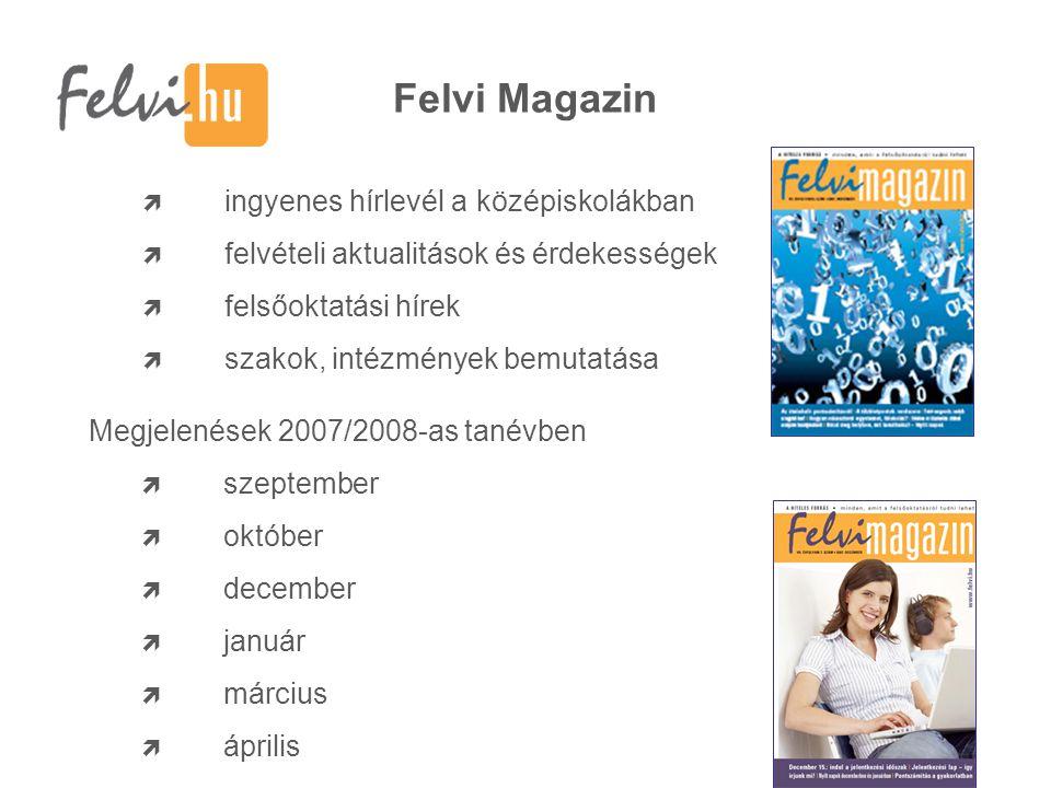 Felvi Magazin  ingyenes hírlevél a középiskolákban  felvételi aktualitások és érdekességek  felsőoktatási hírek  szakok, intézmények bemutatása Megjelenések 2007/2008-as tanévben  szeptember  október  december  január  március  április