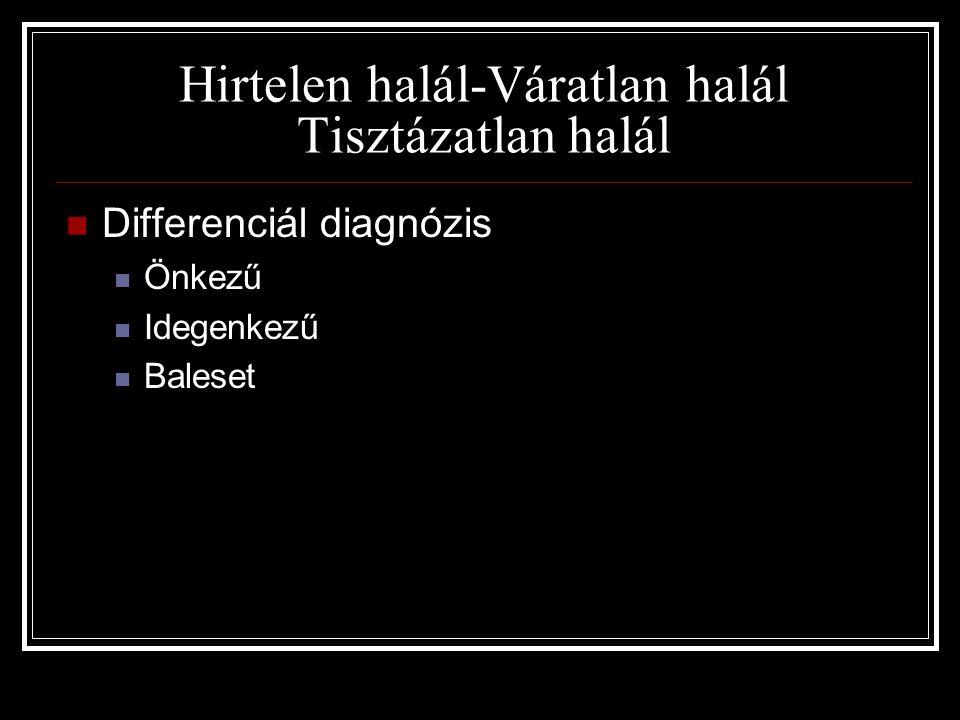 Hirtelen halál-Váratlan halál Tisztázatlan halál  Differenciál diagnózis  Önkezű  Idegenkezű  Baleset