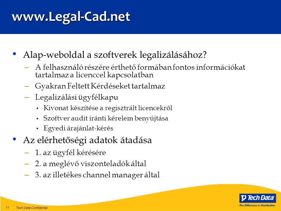 Tech Data Confidential 11 • Alap-weboldal a szoftverek legalizálásához.