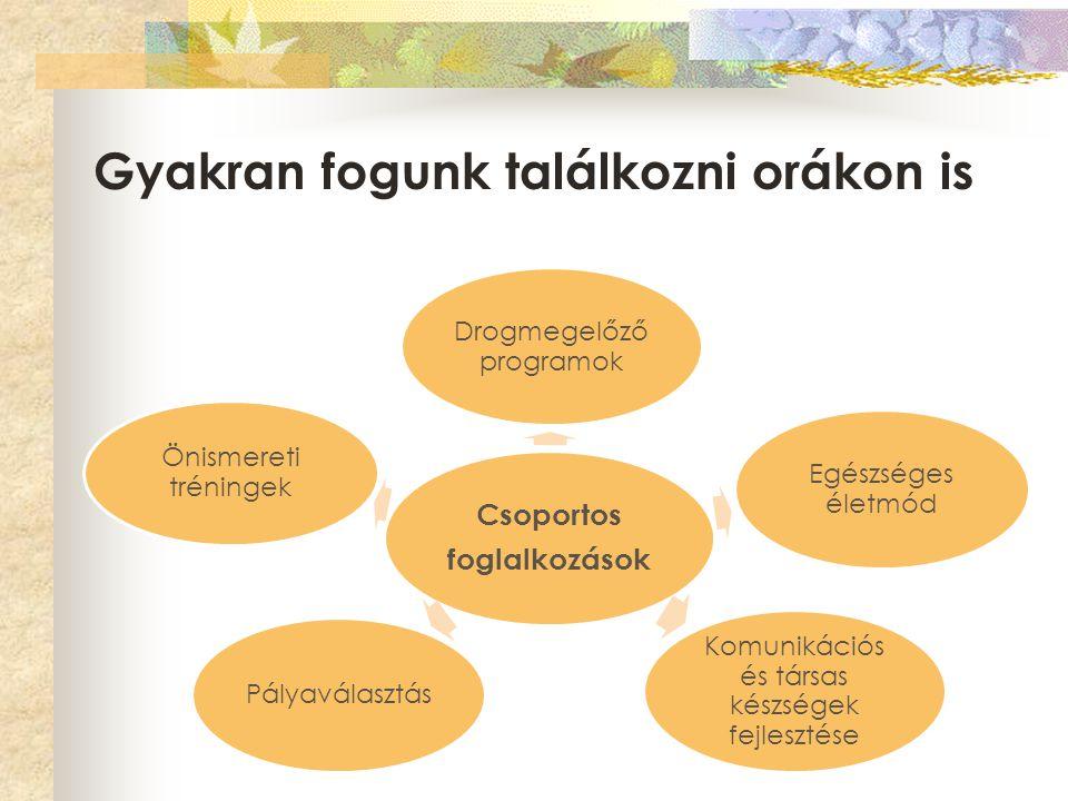 Gyakran fogunk találkozni orákon is Csoportos foglalkozások Drogmegelőző programok Egészséges életmód Komunikációs és társas készségek fejlesztése Pál