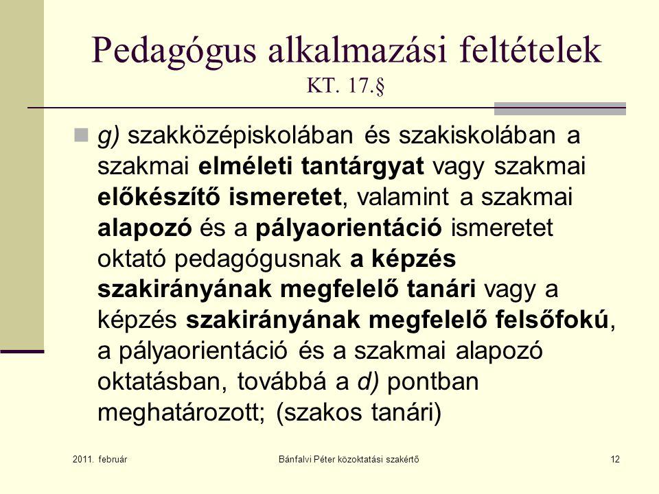 Pedagógus alkalmazási feltételek KT.