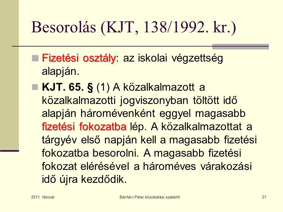 Bánfalvi Péter közoktatási szakértő21 Besorolás (KJT, 138/1992.