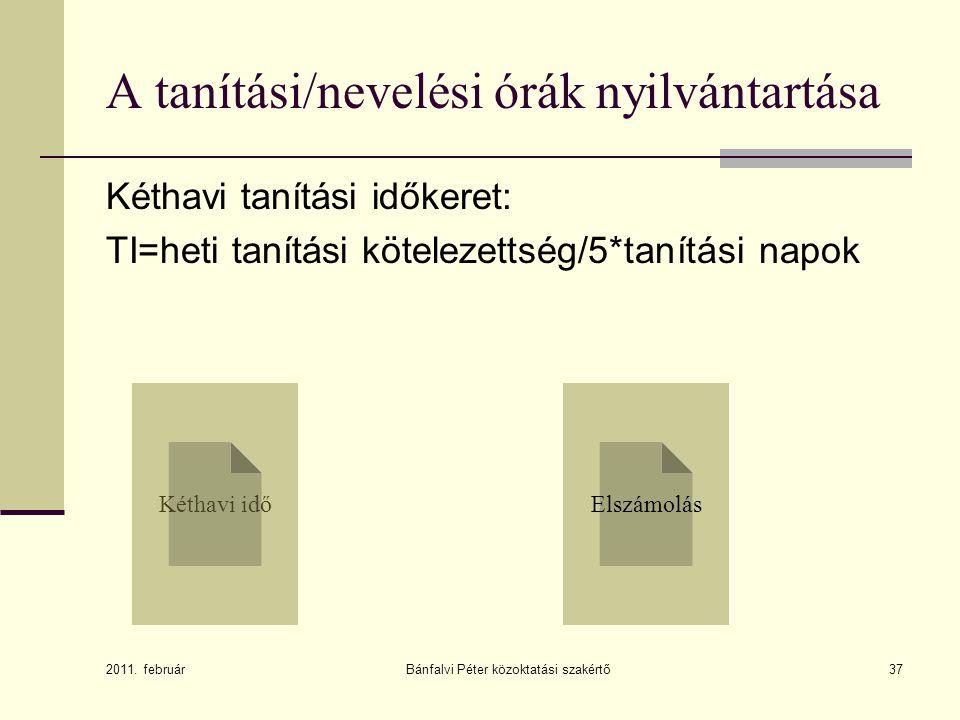 Bánfalvi Péter közoktatási szakértő38 Tanítás elrendelése: (138/1992.