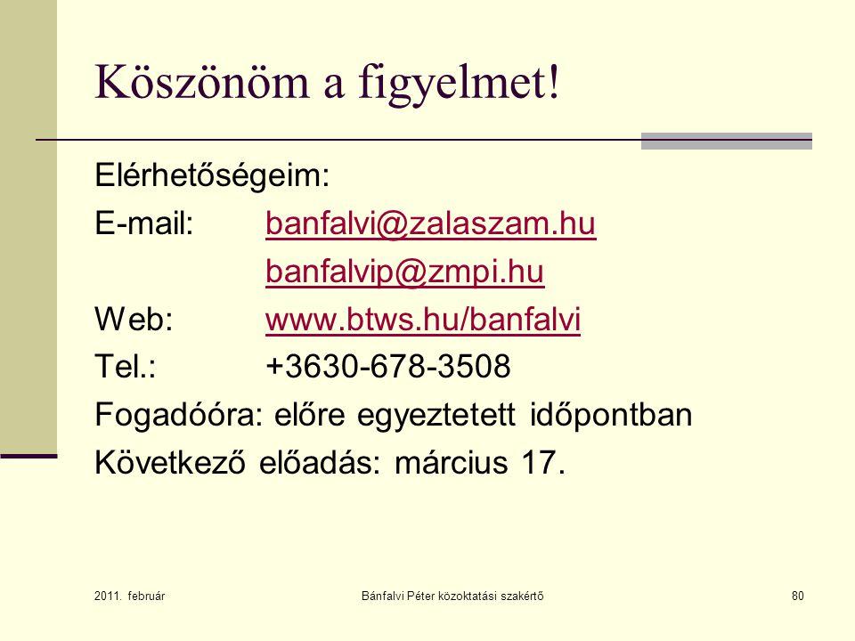 Bánfalvi Péter közoktatási szakértő80 Köszönöm a figyelmet! Elérhetőségeim: E-mail: banfalvi@zalaszam.hubanfalvi@zalaszam.hu banfalvip@zmpi.hu Web: ww