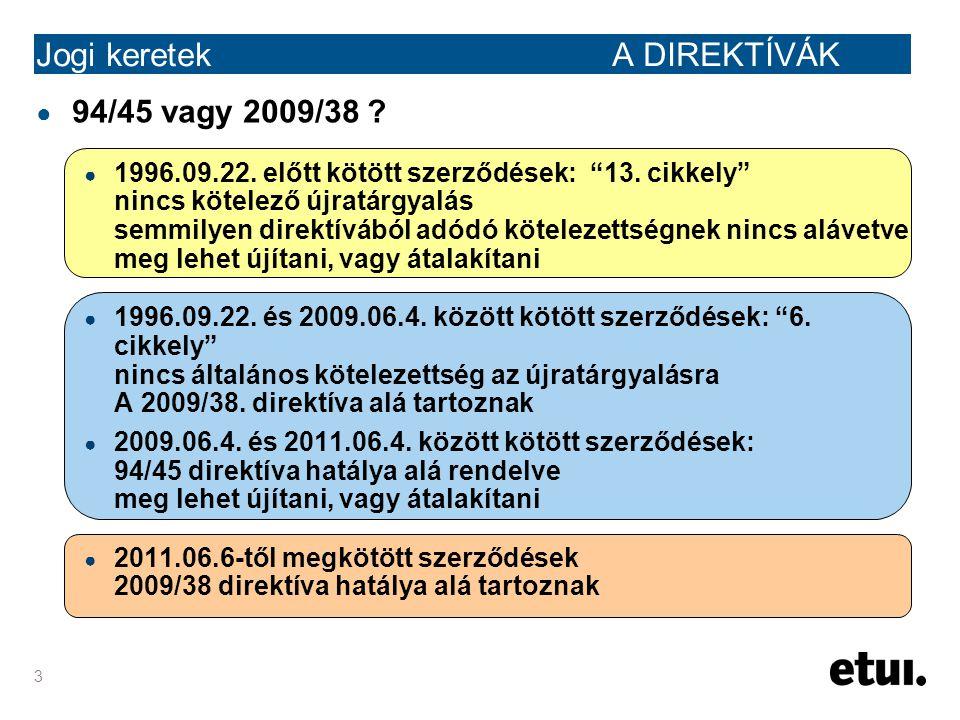 """3 Jogi keretek A DIREKTÍVÁK ● 94/45 vagy 2009/38 ? ● 1996.09.22. előtt kötött szerződések: """"13. cikkely"""" nincs kötelező újratárgyalás semmilyen direkt"""