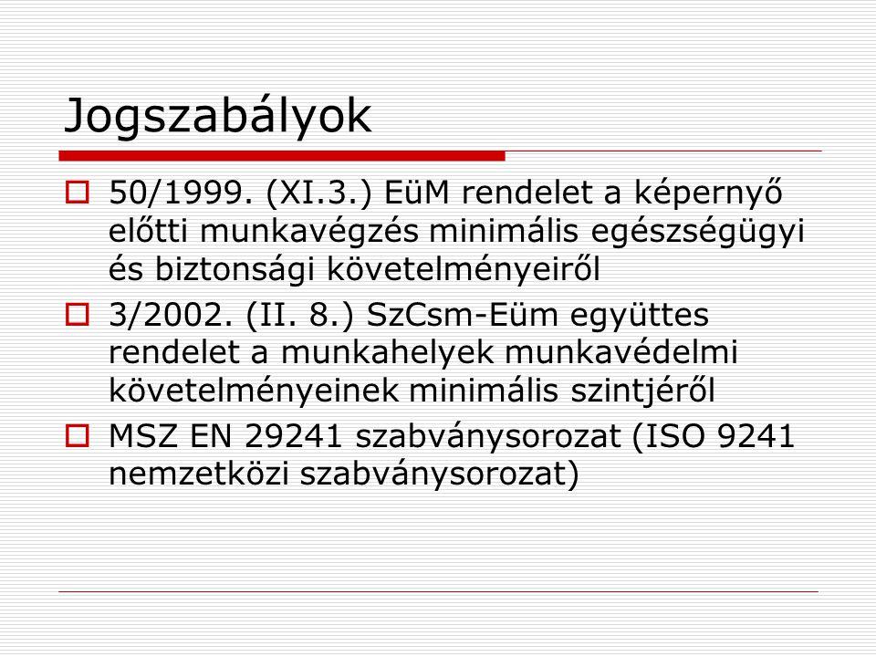 Jogszabályok  50/1999. (XI.3.) EüM rendelet a képernyő előtti munkavégzés minimális egészségügyi és biztonsági követelményeiről  3/2002. (II. 8.) Sz