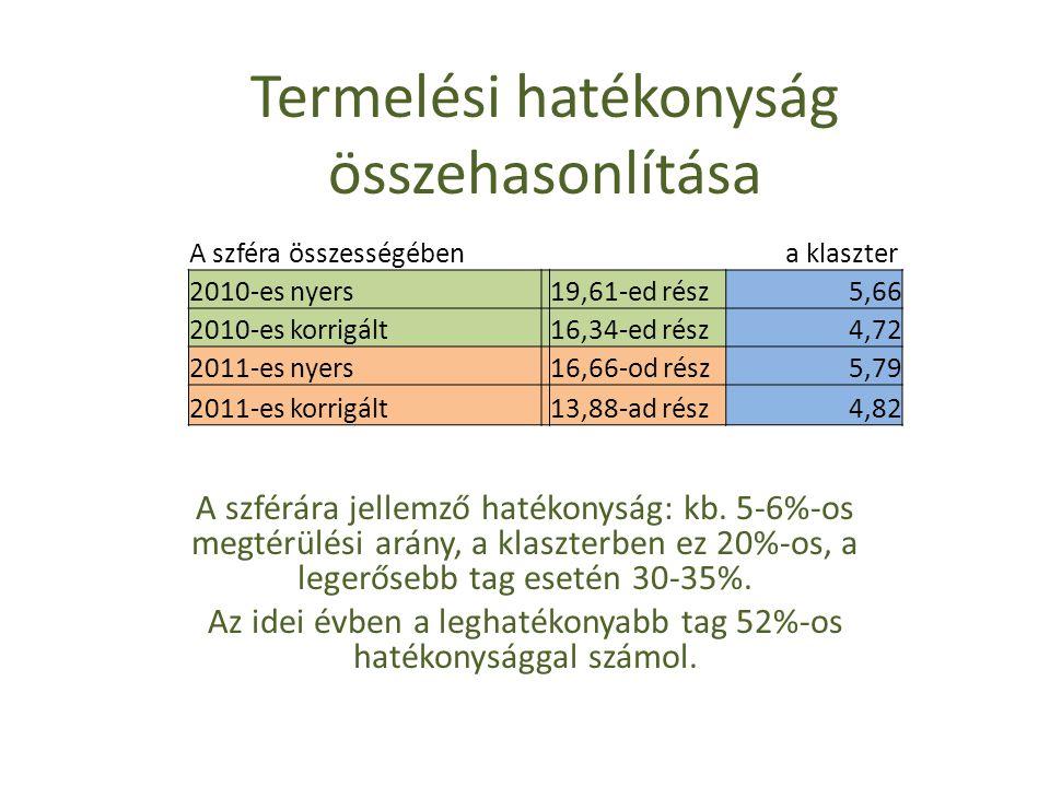 Termelési hatékonyság összehasonlítása A szféra összességében a klaszter 2010-es nyers 19,61-ed rész5,66 2010-es korrigált 16,34-ed rész4,72 2011-es nyers 16,66-od rész5,79 2011-es korrigált 13,88-ad rész4,82 A szférára jellemző hatékonyság: kb.