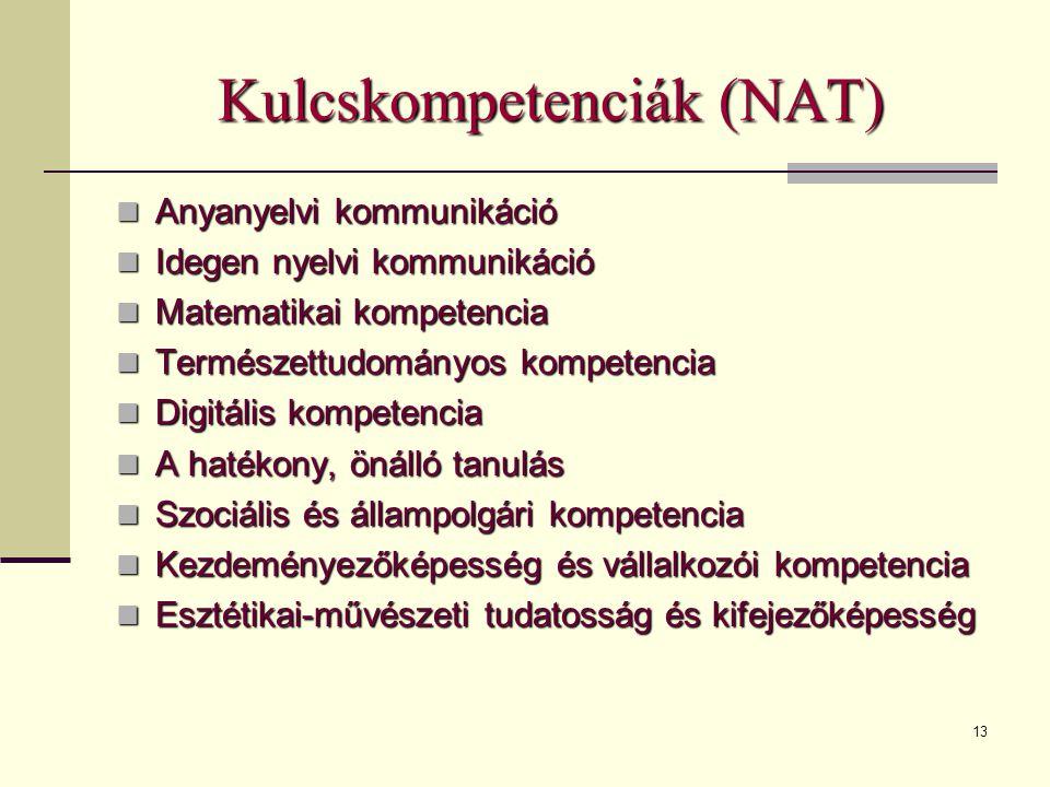 13 Kulcskompetenciák (NAT)  Anyanyelvi kommunikáció  Idegen nyelvi kommunikáció  Matematikai kompetencia  Természettudományos kompetencia  Digitális kompetencia  A hatékony, önálló tanulás  Szociális és állampolgári kompetencia  Kezdeményezőképesség és vállalkozói kompetencia  Esztétikai-művészeti tudatosság és kifejezőképesség